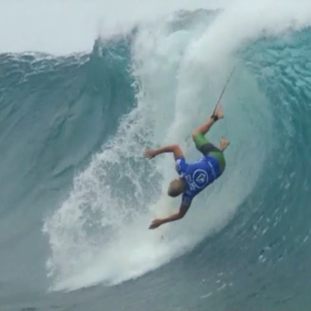Flipping ouch. @volcom Pipe Pro kicks off tomorrow.
