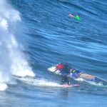 Tom Lowe gets run over by a random ski at Nazare