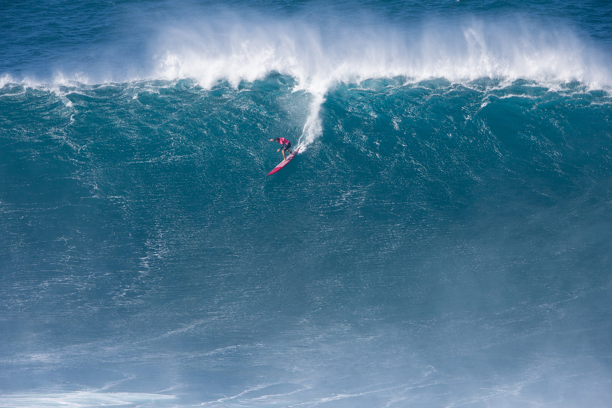 Greg Long during the Final of the Peahi Challenge at Jaws in Hawaii.