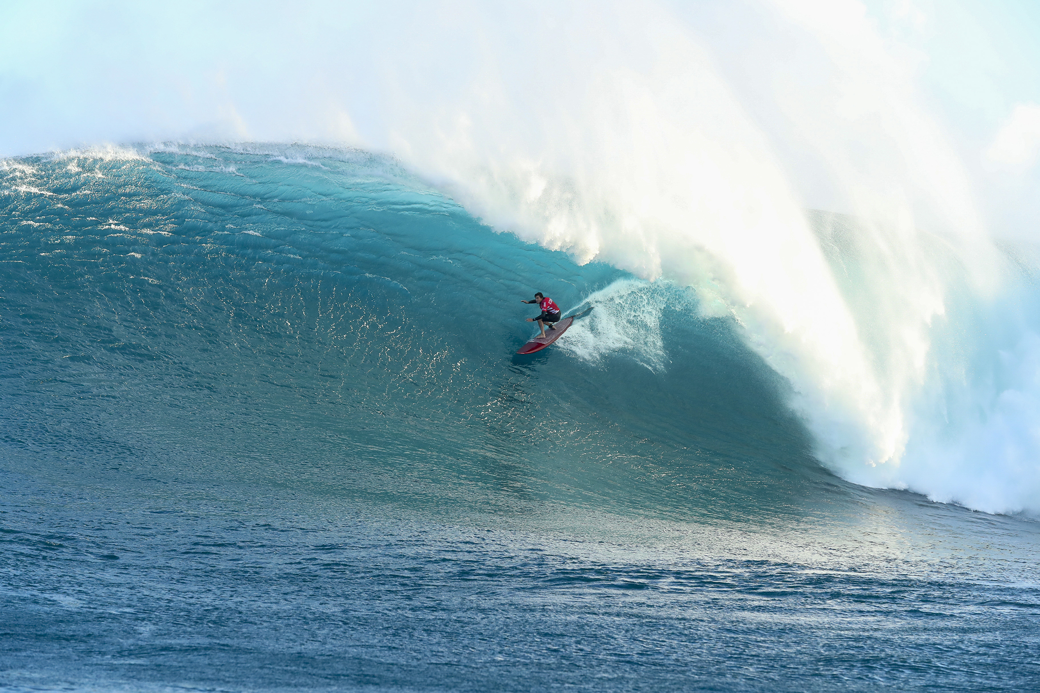 Greg Long of the USA (pictured competing during Round 1 of the Peahi Challenge in Maui, Hawaii today.