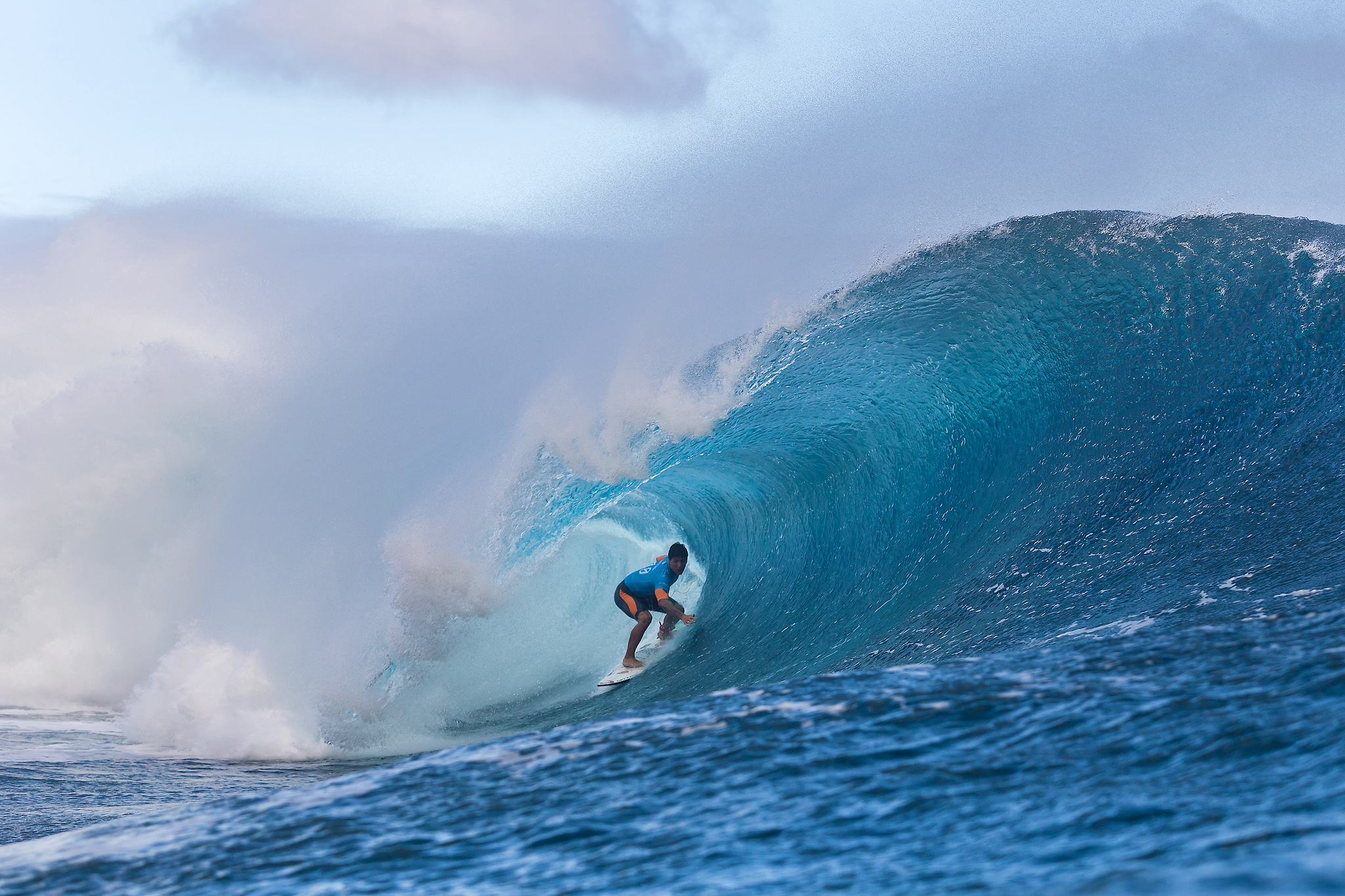 Gabriel Medina of Maresias, Sao Paulo, Brazil (pictured) winning in Round 4 of the Billabong Pro Tahiti with a heat total of 17.64 points (out of a possible 20.00) which included a near perfect 9.97 point ride (out of a possible 10.00) to advance in to the Quarter Finals at Teahupoo, Tahiti on 24 August 2015. IMAGE CREDIT: © WSL / Cestari PHOTOGRAPHER: Kelly Cestari SOCIAL MEDIA TAG: @wsl @KC80