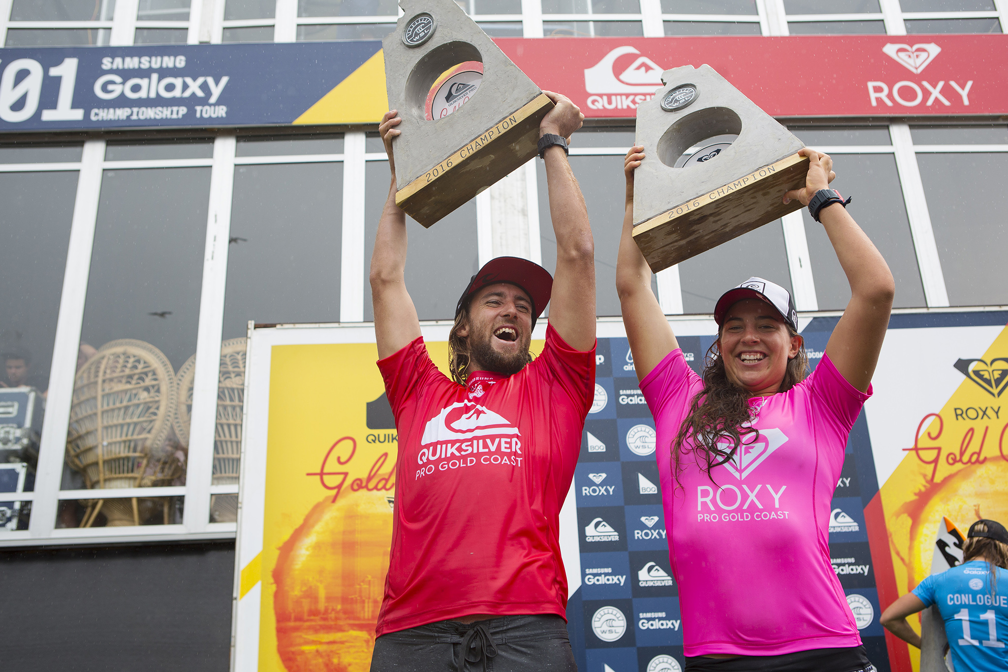 Matt Wilkinson and Tyler Wright both of Australia (pictured) celebrating during prizegiving after winning the Quiksilver and Roxy Pro's respectively at Snapper Rocks on the Gold Coast of Australia on Wednesday March 16, 2016. PHOTO: © WSL/ Kirstin Scholtz This is a hand-out image from the World Surf League and is royalty free for editorial use only, no commercial rights granted. The copyright is owned by World Surf League. Sale or license of the images is prohibited. ALL RIGHTS RESERVED.