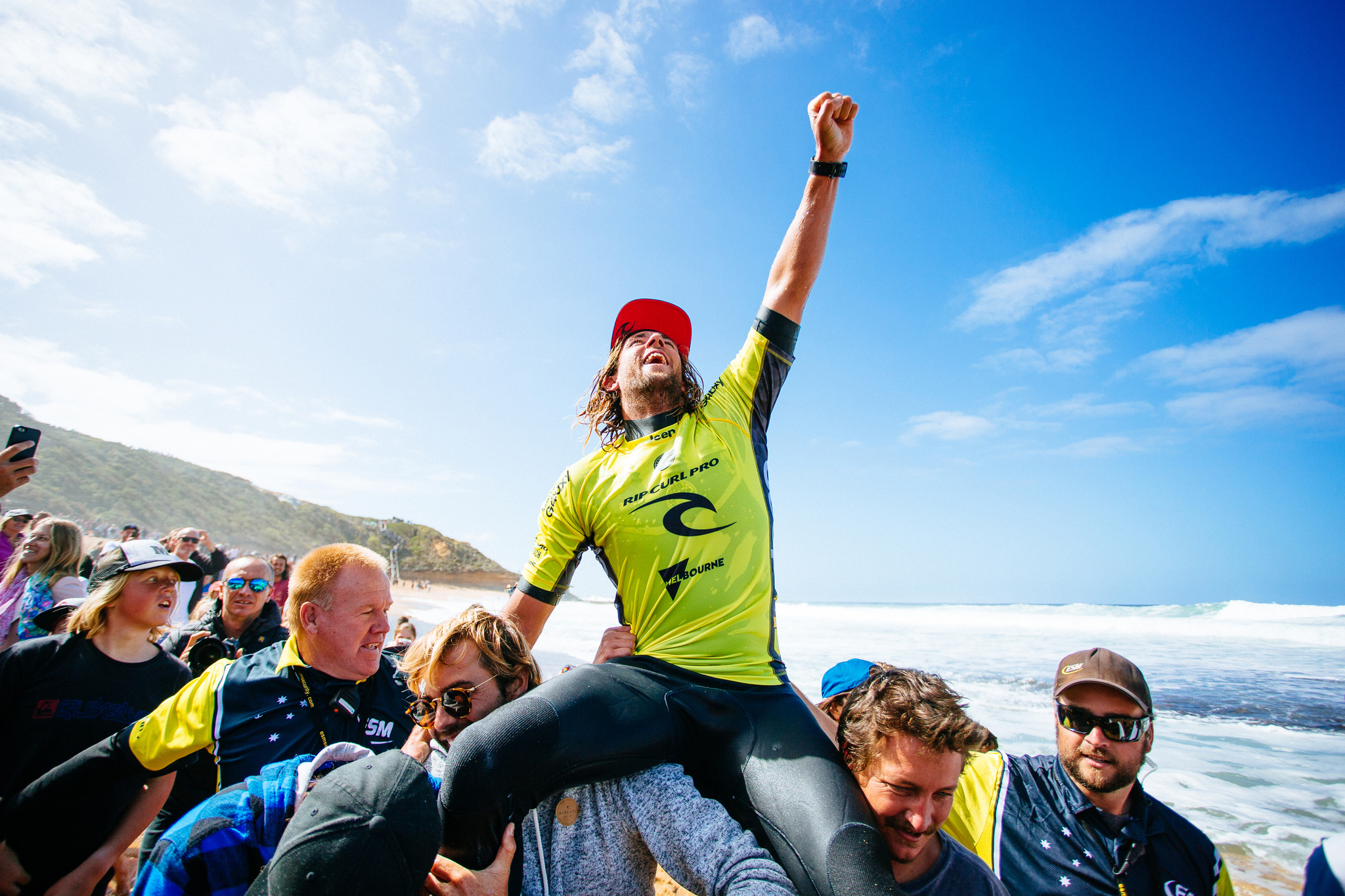 Matt Wilkinson of Australia (pictured) celebrated his victory at the Rip Curl Pro Bells Beach on Sunday April 3, 2016.