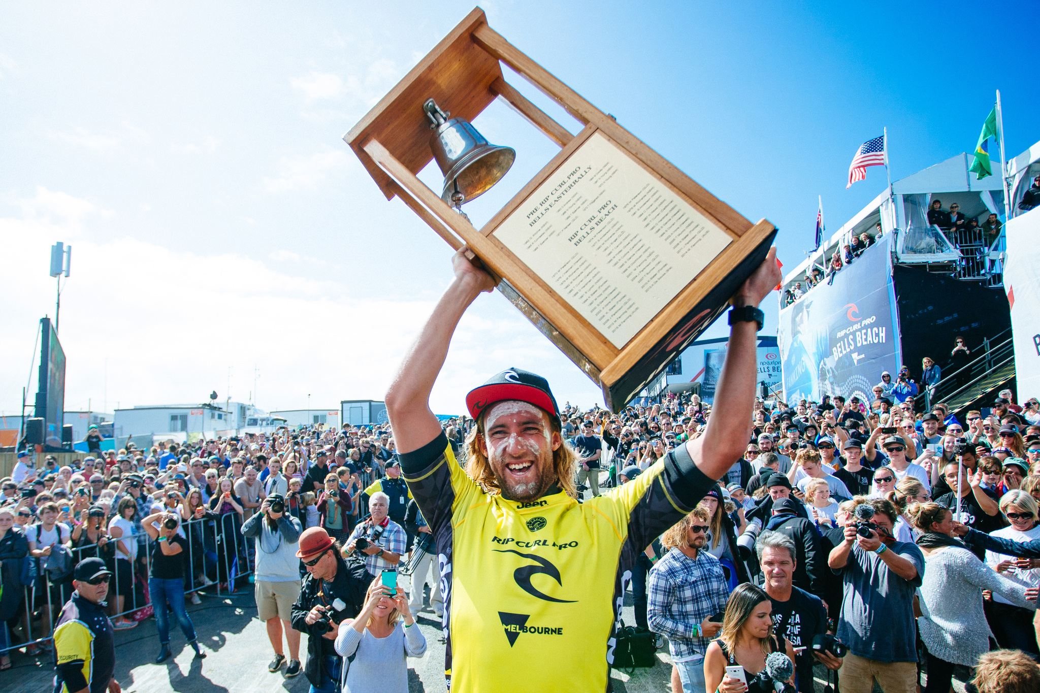 Matt Wilkinson of Australia (pictured) hoists his bell after winning the Rip Curl Pro Bells Beach on Sunday April 3, 2016. PHOTO: © WSL/ Sloane SOCIAL: @wsl @edsloanephoto This image is the copyright of the World Surf League and is provided royalty free for editorial use only, in all media now known or hereafter created. No commercial rights granted. Sale or license of the images is prohibited. This image is a factually accurate rendering of what it depicts and has not been modified or augmented except for standard cropping and toning. ALL RIGHTS RESERVED.