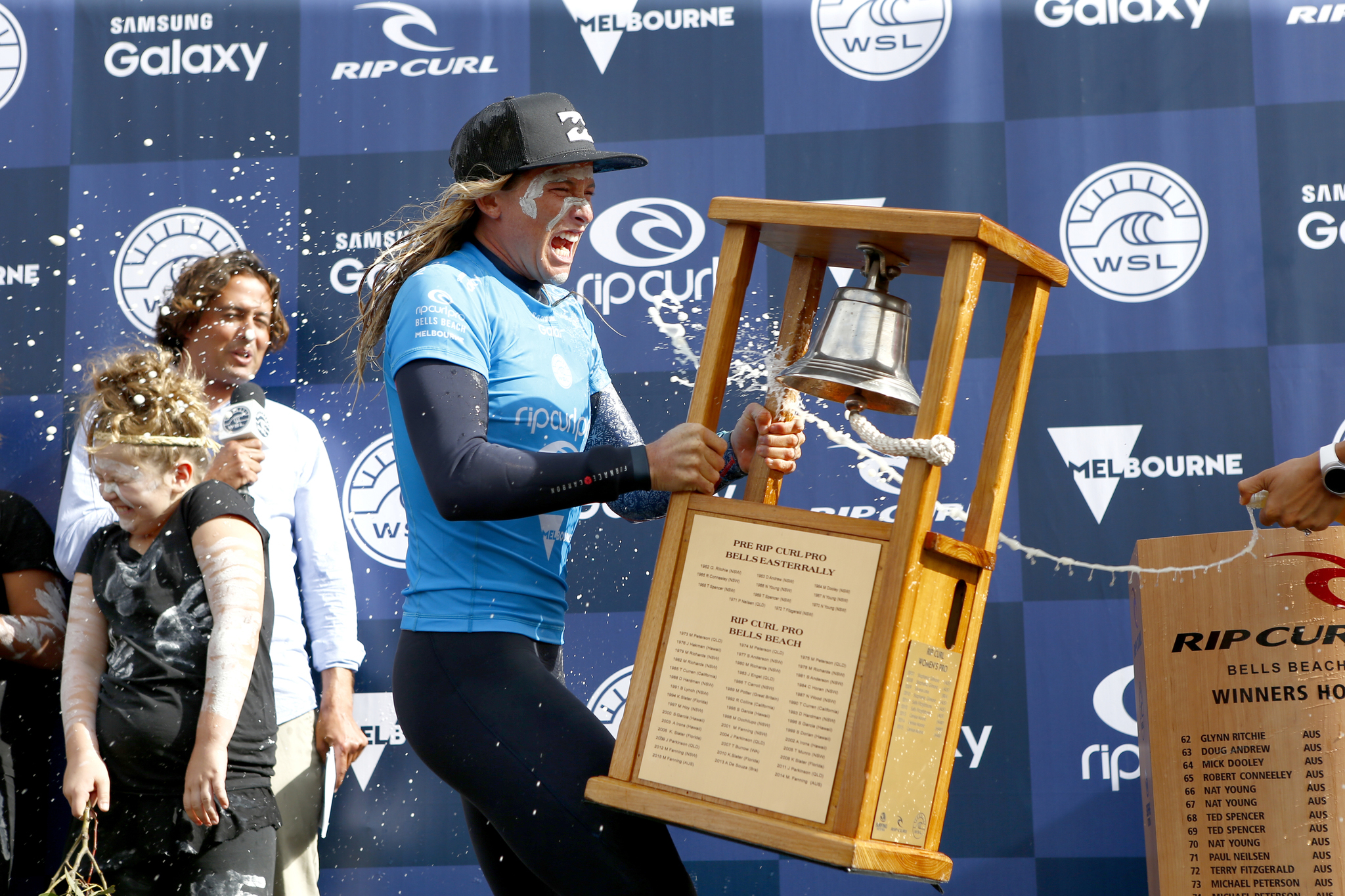 Courtney Conlogue of the USA (pictured) rings the bell at the Rip Curl Pro Bells Beach on Friday April 1, 2016. PHOTO: © WSL/ Cestari SOCIAL: @kc80 This image is the copyright of the World Surf League and is provided royalty free for editorial use only, in all media now known or hereafter created. No commercial rights granted. Sale or license of the images is prohibited. This image is a factually accurate rendering of what it depicts and has not been modified or augmented except for standard cropping and toning. ALL RIGHTS RESERVED.