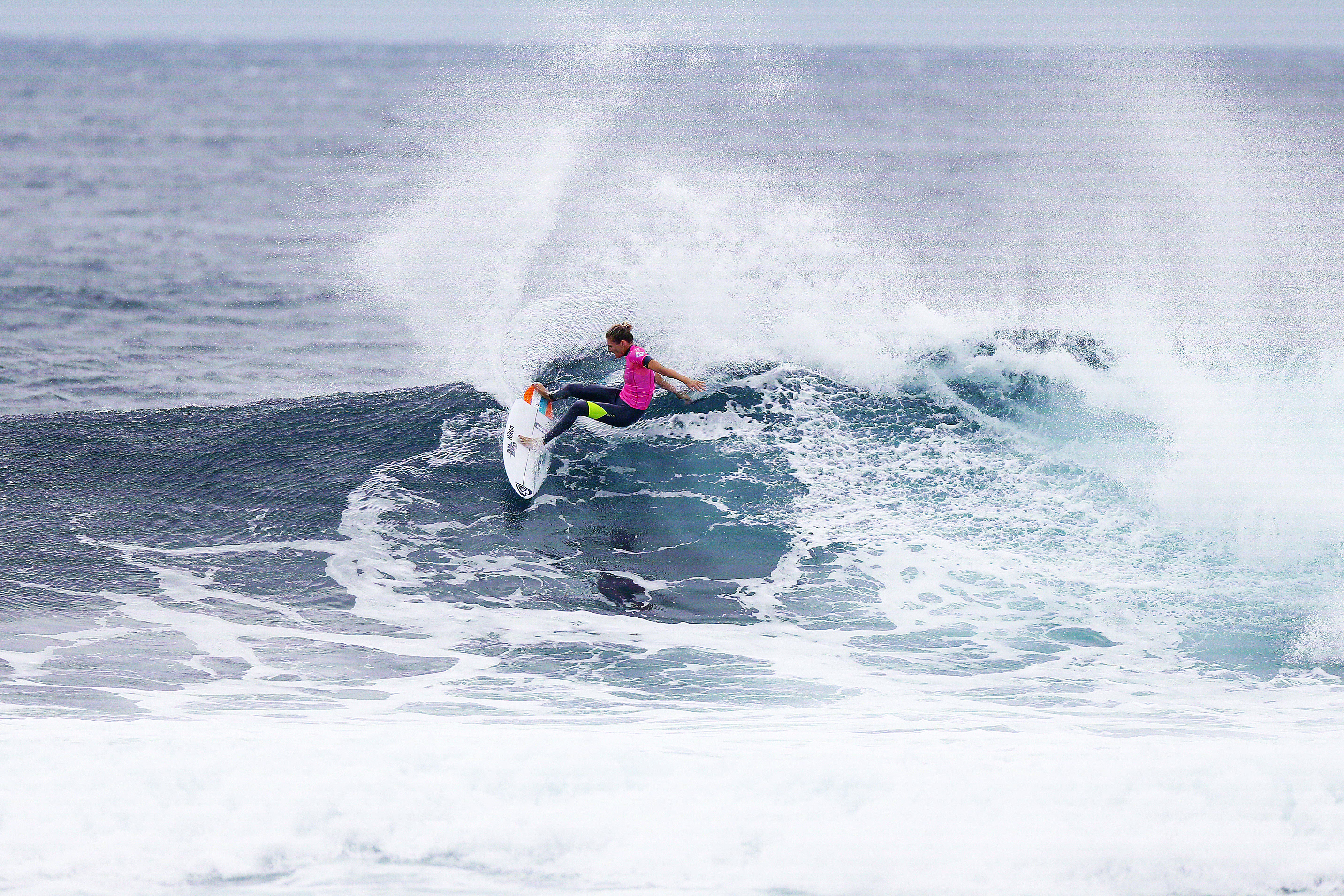 Stephanie Gilmore winning her round four heat at the Drug Aware Margaret River Pro in Western Australia.