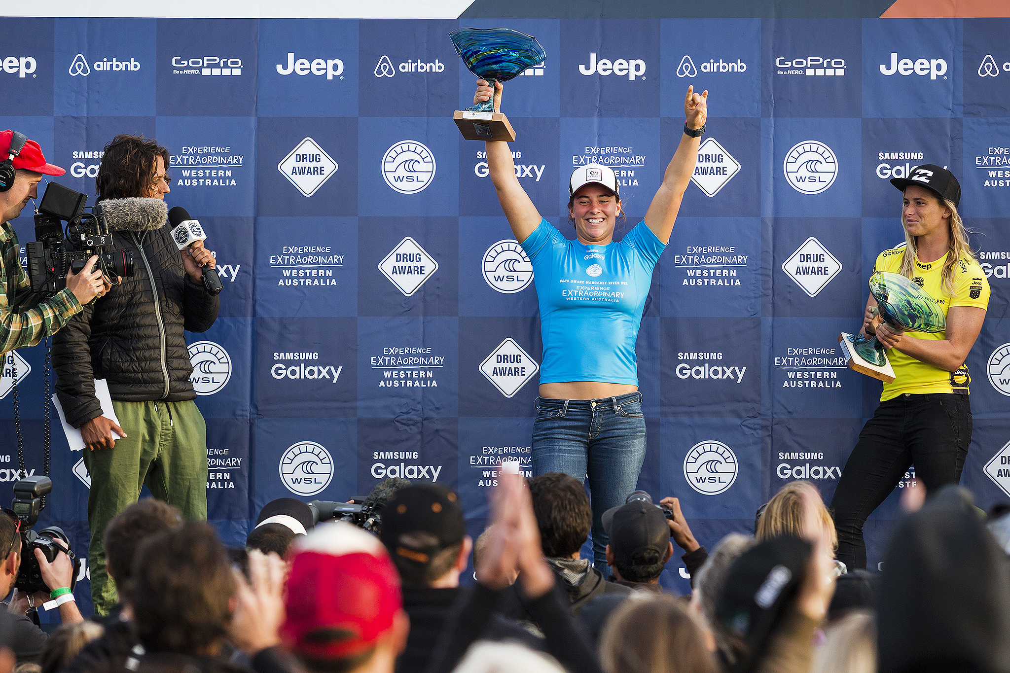 Tyler Wright of Australia (pictured) raises her winners trophy at the Drug Aware Margaret River Pro on Friday April 15, 2016. PHOTO: © WSL / Cestari SOCIAL: @edsloanephoto @wsl This image is the copyright of the World Surf League and is provided royalty free for editorial use only, in all media now known or hereafter created. No commercial rights granted. Sale or license of the images is prohibited. This image is a factually accurate rendering of what it depicts and has not been modified or augmented except for standard cropping and toning. ALL RIGHTS RESERVED. placing runner up at the Drug Aware Margaret River Pro in Western Australia.