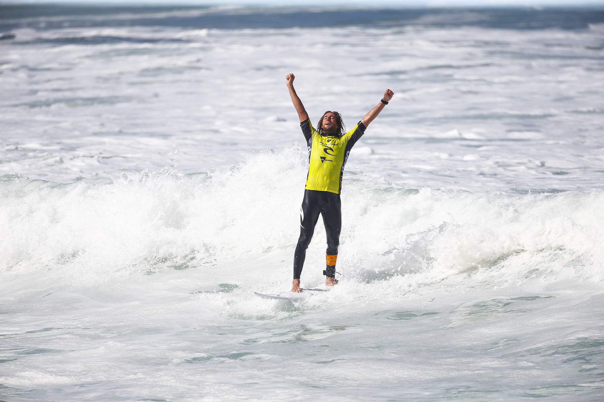 Matt Wilkinson of Australia celebrates his victory at the Rip Curl Pro Bells Beach.