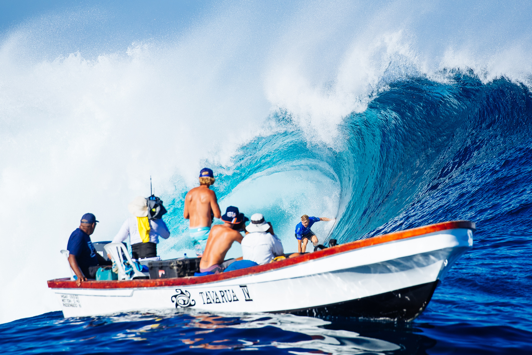 Adrian Buchan of Australia (pictured) riding a wave infront of the photographer's boat during the Quarterfinals of the Fiji Pro at Cloudbreak on Friday June 17, 2016. PHOTO: WSL/ Sloane SOCIAL: @edsloanephoto @wsl This image is the copyright of  the World Surf League and is provided royalty free for editorial use only, in all media now known or hereafter created. No commercial rights granted. Sale or license of the images is prohibited. This image is a factually accurate rendering of what it depicts and has not been modified or augmented except for standard cropping and toning. ALL RIGHTS RESERVED.