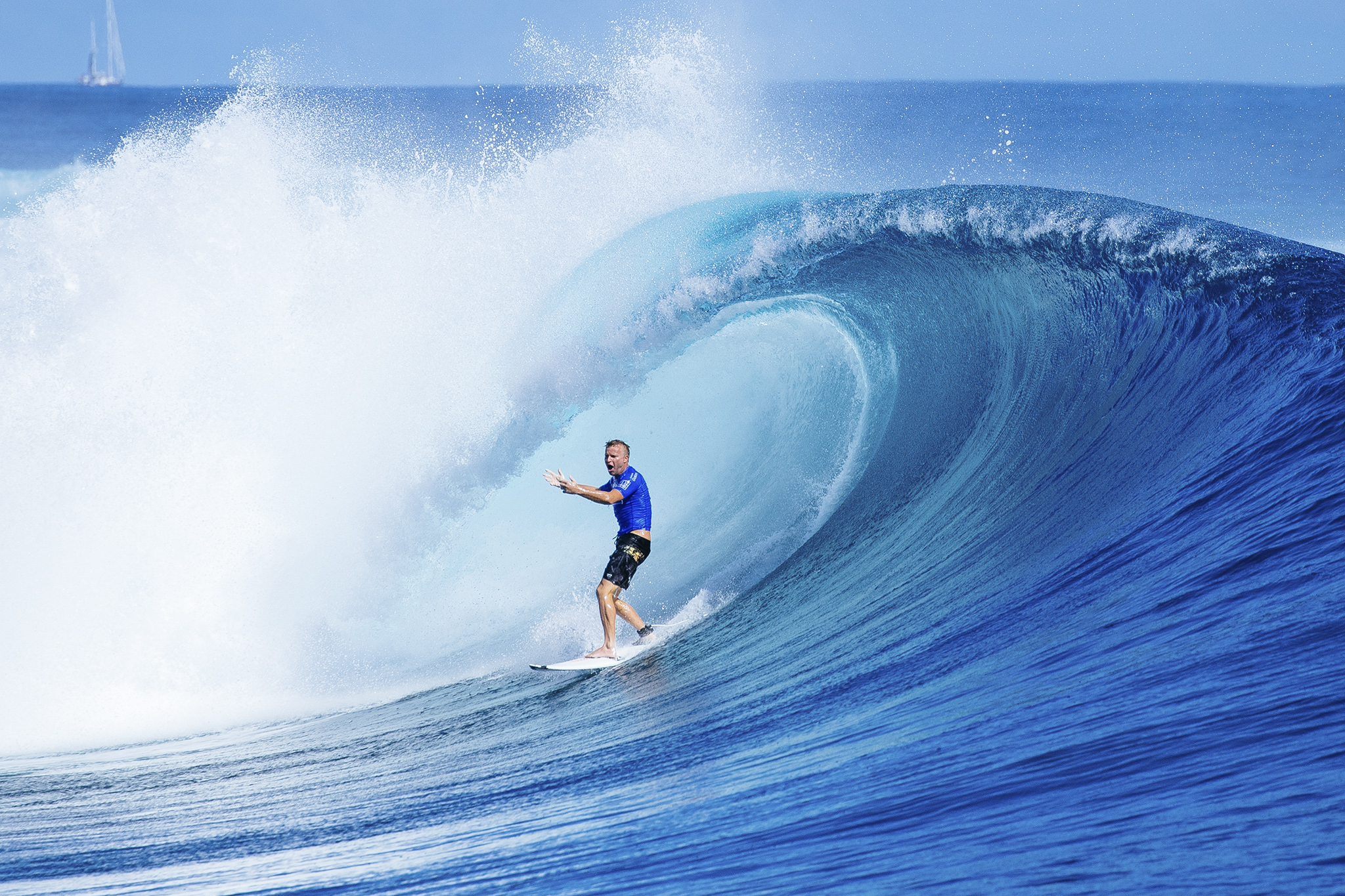 Taj Burrow of Australia (pictured) eliminated from the Fiji Pro during round three at Cloudbreak, Tavarua on Wednesday June 15, 2016. PHOTO: © WSL/ Sloane SOCIAL: @edsloanephoto @wsl This image is the copyright of the World Surf League and is provided royalty free for editorial use only, in all media now known or hereafter created. No commercial rights granted. Sale or license of the images is prohibited. This image is a factually accurate rendering of what it depicts and has not been modified or augmented except for standard cropping and toning. ALL RIGHTS RESERVED.