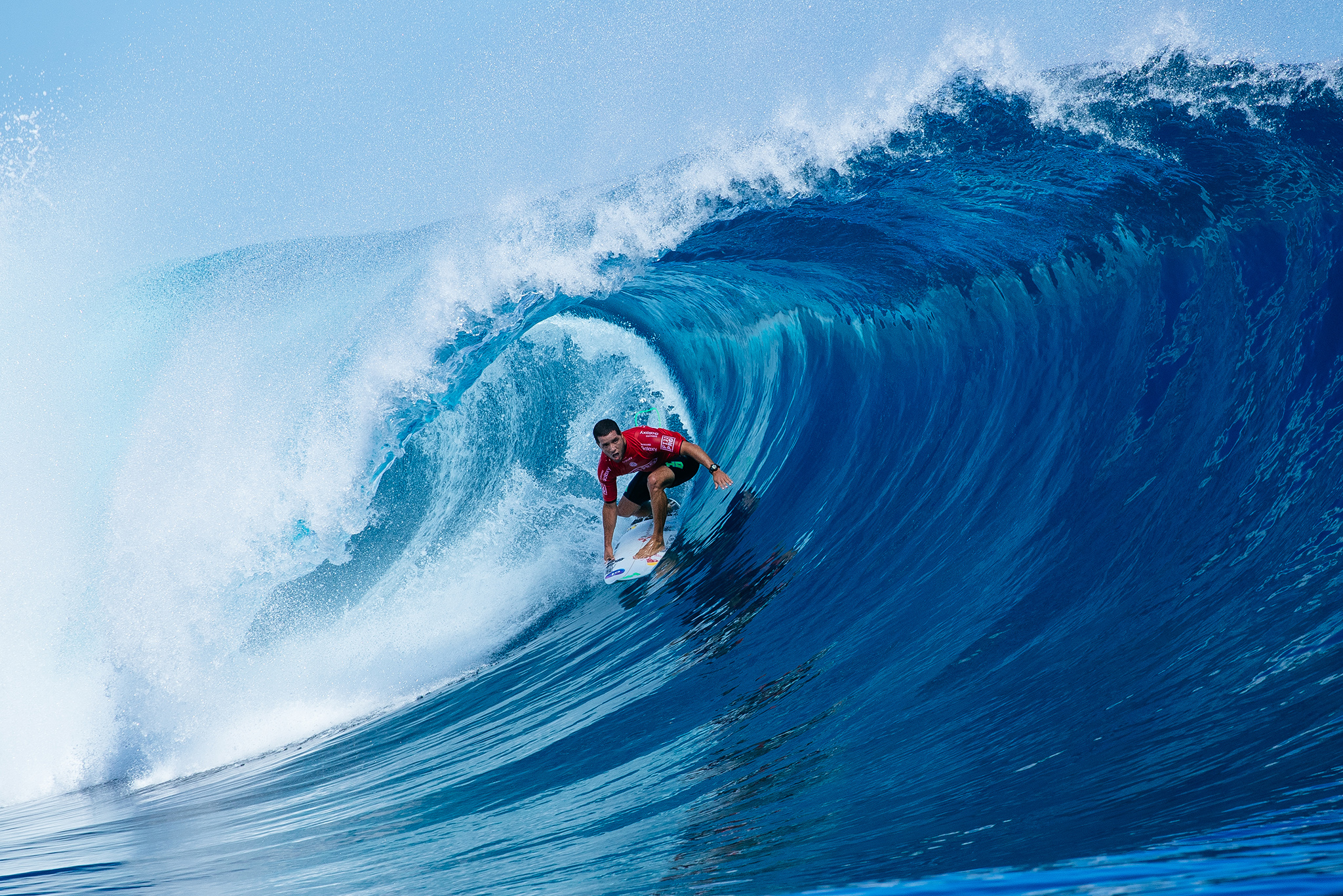 Adriano De Souza of BRasil (pictured) winning his in Round Three of the Fiji Pro at Cloudbreak, Tavarua on Wednesday June 15, 2016. PHOTO: ©WSL/ Sloane SOCIAL: @edsloanephoto @wsl This image is the copyright of the World Surf League and is provided royalty free for editorial use only, in all media now known or hereafter created. No commercial rights granted. Sale or license of the images is prohibited. This image is a factually accurate rendering of what it depicts and has not been modified or augmented except for standard cropping and toning. ALL RIGHTS RESERVED.