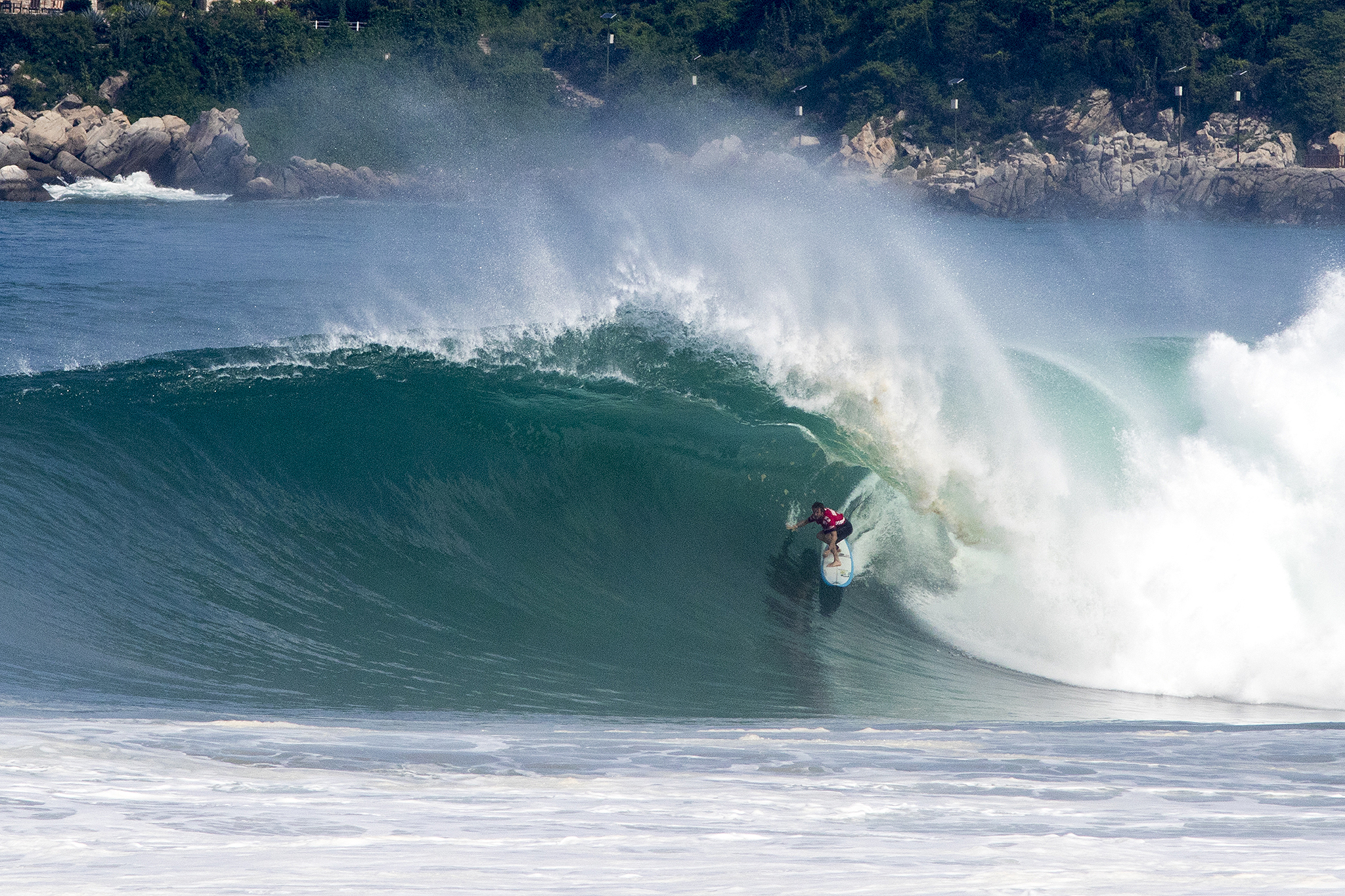 Grant 'Twiggy' Baker of the South Africa (pictured) wins the final after scoring a perfect 10-point ride for riding an enomrous tube during the final of the Puerto Escondido Challenge in Mexico on Saturday June 25, 2016. Thirty foot waves (ten meter) waves poured into Puerto Escondido that saw the Big Wave World Tour Puerto Escondido Challenge resume in Mexico on Saturday June 26, 2016. PHOTO: © WSL / Morales Social: @wsl @moralesedwin This image is the copyright of the World Surf League and is provided royalty free for editorial use only, in all media now known or hereafter created. No commercial rights granted. Sale or license of the images is prohibited. This image is a factually accurate rendering of what it depicts and has not been modified or augmented except for standard cropping and toning. ALL RIGHTS RESERVED.