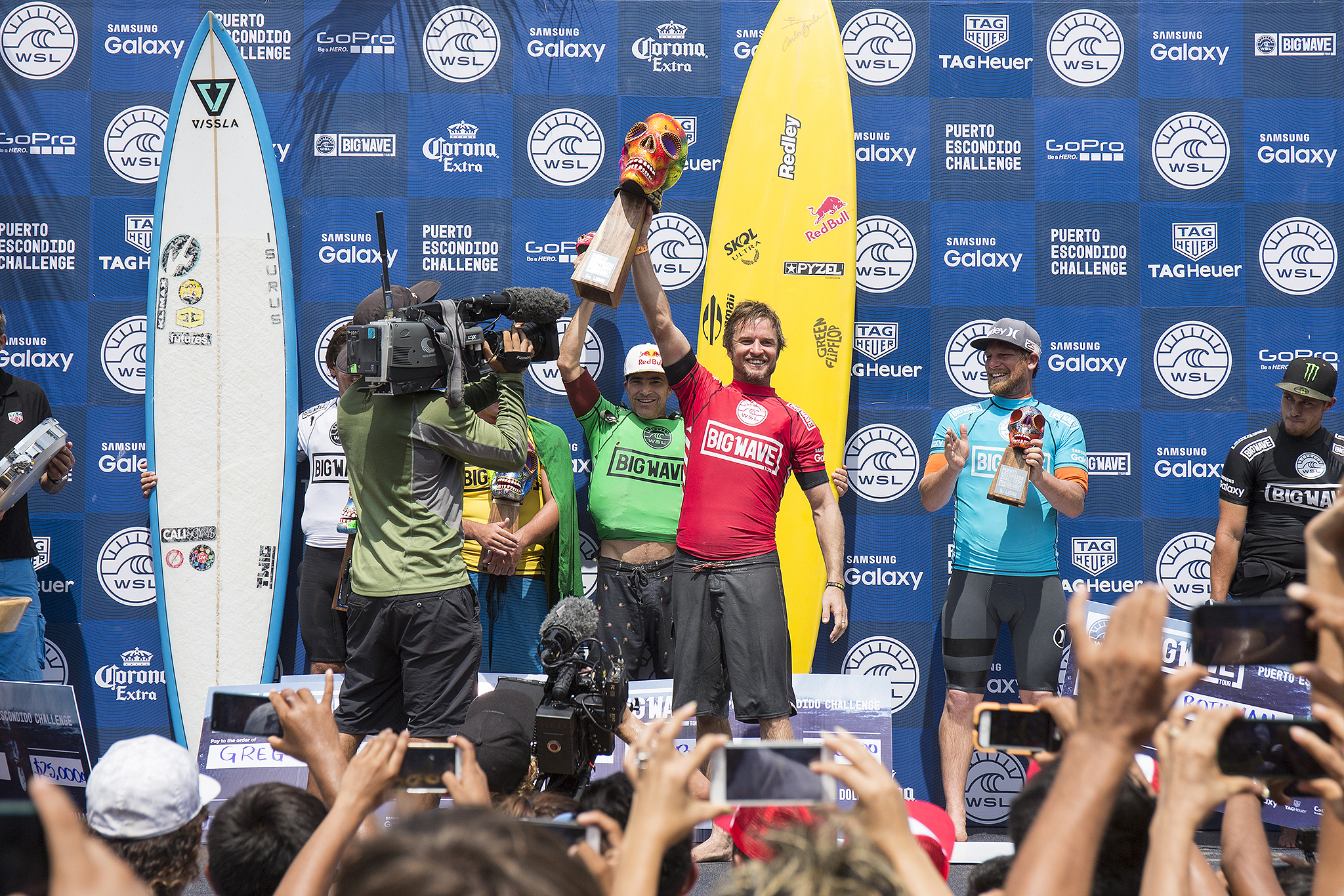 Grant 'Twiggy' Baker of the South Africa (pictured) is the 2016 Puerto Escondido Challenge winner after scoring a perfect 10-point ride for riding an enomrous tube during the final of the Puerto Escondido Challenge in Mexico on Saturday June 25, 2016. Thirty foot waves (ten meter) waves poured into Puerto Escondido that saw the Big Wave World Tour Puerto Escondido Challenge resume in Mexico on Saturday June 26, 2016. PHOTO: © WSL / Heff Social: @wsl @tonyheff This image is the copyright of the World Surf League and is provided royalty free for editorial use only, in all media now known or hereafter created. No commercial rights granted. Sale or license of the images is prohibited. This image is a factually accurate rendering of what it depicts and has not been modified or augmented except for standard cropping and toning. ALL RIGHTS RESERVED.