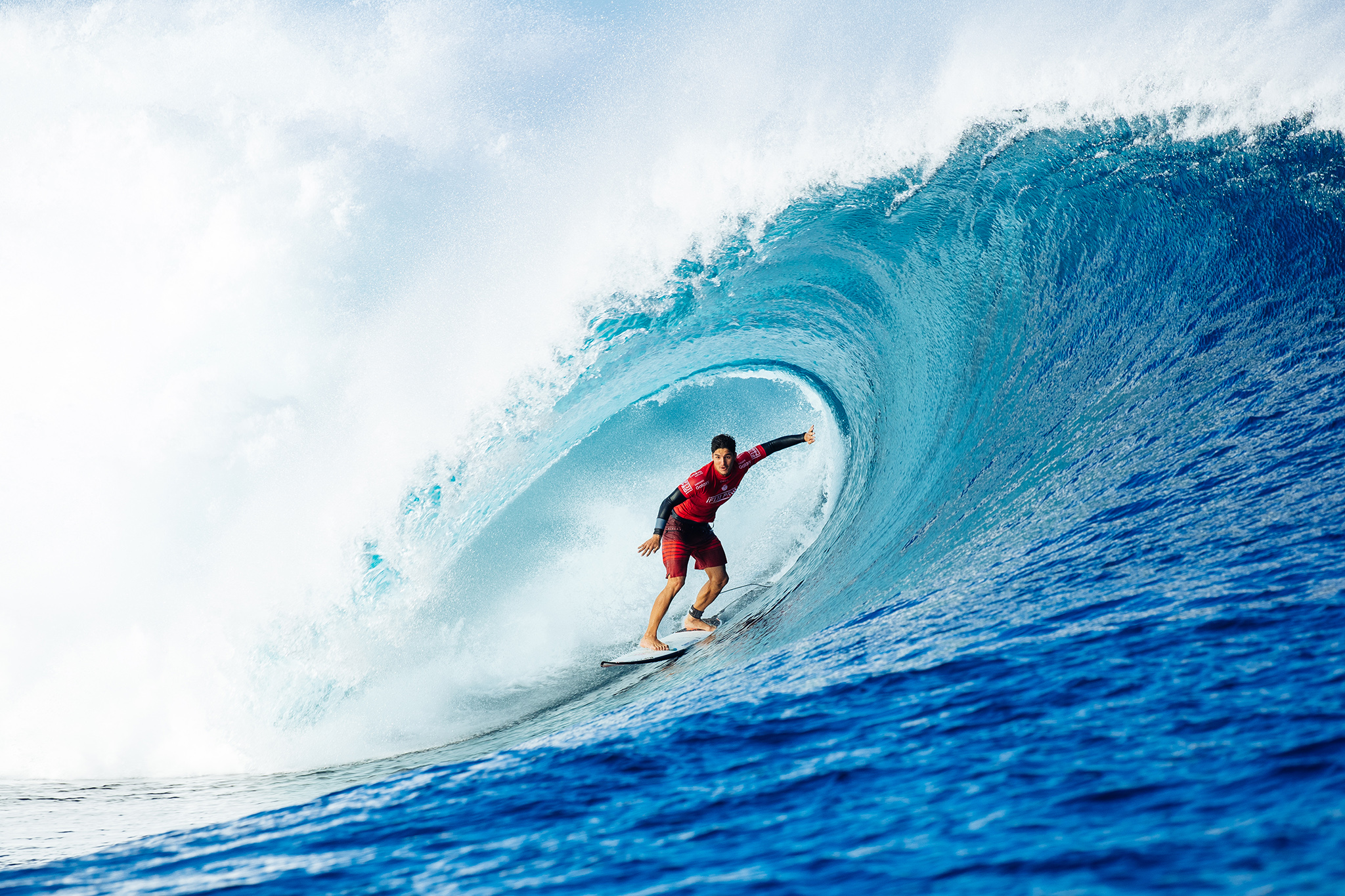 Gabriel Medina of Brasil (pictured) winning his Round Four heat with a Perfect 10-point ride at the Fiji Pro at Cloudbreak on Thursday June 16, 2016. PHOTO: © WSL/ Cestari SOCIAL: @Cestari This image is the copyright of the World Surf League and is provided royalty free for editorial use only, in aall media now known or hereafter created. No commercial rights granted. Sale or license of the images is prohibited. This image is a factually accurate rendering of what it depicts and has not been modified or augmented except for standard cropping and toning. ALL RIGHTS RESERVED.