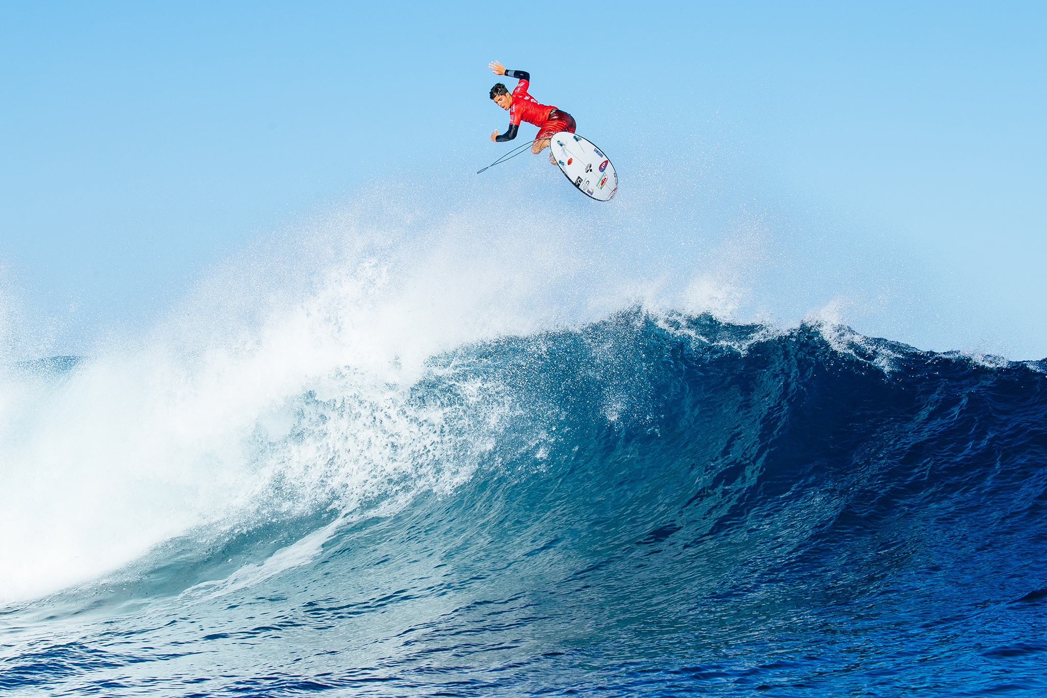 Gabriel Medina of BRasil (pictured) winning his in Round Three of the Fiji Pro at Cloudbreak, Tavarua on Wednesday June 15, 2016. PHOTO: ©WSL/ Sloane SOCIAL: @edsloanephoto @wsl This image is the copyright of the World Surf League and is provided royalty free for editorial use only, in all media now known or hereafter created. No commercial rights granted. Sale or license of the images is prohibited. This image is a factually accurate rendering of what it depicts and has not been modified or augmented except for standard cropping and toning. ALL RIGHTS RESERVED.