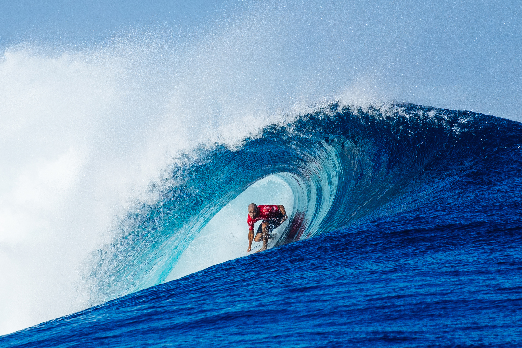 Kelly Slater of the USA (pictured) winning his quarterfinal heat at the Fiji Pro at Cloudbreak on Tavarua on Friday June 17, 2016. PHOTO: WSL/ Sloane SOCIAL: @edsloanephoto @wsl This image is the copyright of  the World Surf League and is provided royalty free for editorial use only, in all media now known or hereafter created. No commercial rights granted. Sale or license of the images is prohibited. This image is a factually accurate rendering of what it depicts and has not been modified or augmented except for standard cropping and toning. ALL RIGHTS RESERVED.