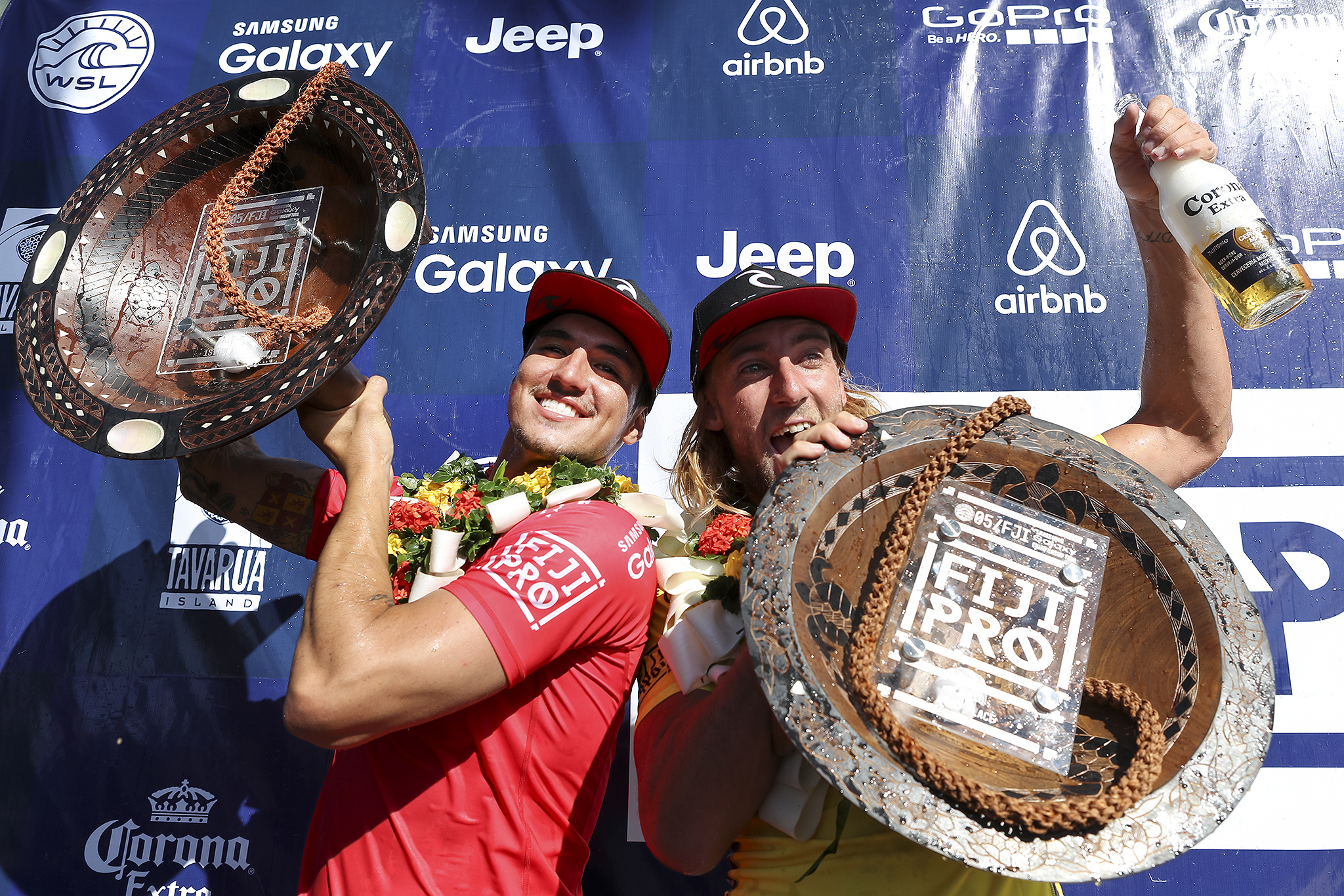 Gabriel Medina is the 2016 Fiji Pro Winner and Matt Wilkinson the runner-up.  Wilkinson retains number one spot on the Jeep Leaderboard while Medina moves in to number two. PHOTO: © WSL/ Cestari SOCIAL: @wsl @kc80 This image is the copyright of  the World Surf League and is provided royalty free for editorial use only, in all media now known or hereafter created. No commercial rights granted. Sale or license of the images is prohibited. This image is a factually accurate rendering of what it depicts and has not been modified or augmented except for standard cropping and toning. ALL RIGHTS RESERVED