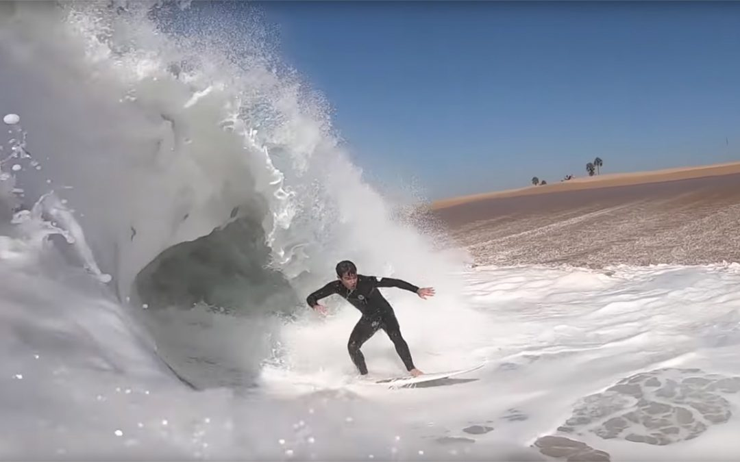 Mason Ho surfing The Wedge.